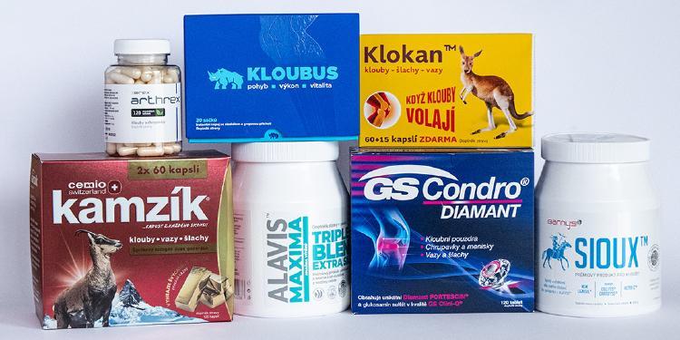 Různé formy přípravků na klouby - kapky, kapsle a drinky.