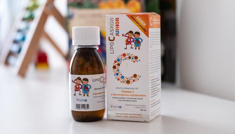 Lipozomální vitamín C pro děti ve formě sirupu.